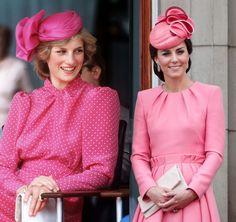 Diana in a Pepto-pink polka dotted dress in Perth in and Kate in a similarly hued Alexander McQueen dress coat at Trooping the Color in Princess Katherine, Princess Diana Death, Princess Kate, Kate Middleton Latest, Kate Middleton Style, Perth, Trooping The Colour, Princess Diana Dresses, Royals