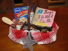 Really like the idea of pairing a Specialty Cookbook with supplies to make a favorit recipe! 101 Things to Do with a Cake Mix Basket