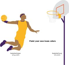 2 basketball stencils paint your own basketball mural in your boys room no artistic skill required self-adhesive feature makes stenciling a cinch  fun and easy