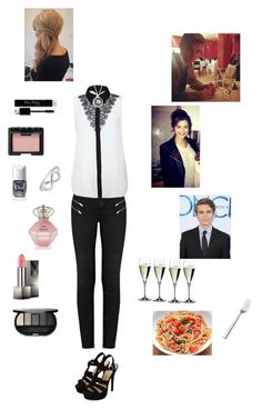 """Dinner with Eleanor, Thomas, and Robbie"" by nerdbucket ❤ liked on Polyvore featuring NARS Cosmetics, J Brand, Christian Dior, Riedel, Jewel Exclusive, Burberry, Sephora Collection and Williams-Sonoma"