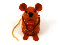 Christmas Gingerbread Mouse Ornament - Cute felt hamster rat mice cute gift for animal lover or collector - Ginger - MADE TO ORDER