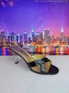 """Womens shoes DEZARIO USA Designer blk patent clear lucite 3.5"""" heels sz 7 W Wide #Dezario #OpenToe"""