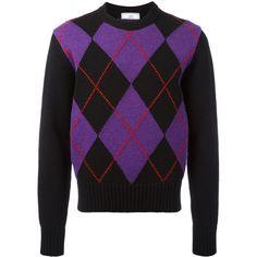 Ami Alexandre Mattiussi argyle pattern crewneck sweater (765 BRL) ❤ liked on Polyvore featuring men's fashion, men's clothing, men's sweaters, black, mens woolen sweaters, mens crewneck sweaters, mens colorblock sweater, mens colorful sweaters and men's color block sweater
