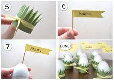 Easter Table and DIY Egg Place Cards - Darling Doodles Diy Place Cards, Name Place Cards, How To Tie Ribbon, Easter Table Settings, Egg Holder, Doodles, Place Card Holders, Make It Yourself, Diy