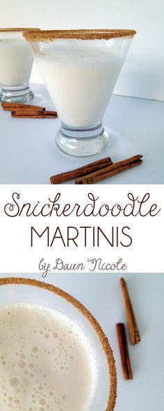 Snickerdoodle Martinis [Coat rims in honey and cinnamon sugar; Add 3 oz half and half, 1 oz Rumchata Fancy Drinks, Cocktail Drinks, Yummy Drinks, Alcoholic Drinks, Beverages, Cocktail Glass, Christmas Cocktails, Holiday Drinks, Holiday Recipes