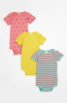 Stem Baby Organic Cotton Bodysuit (3-Pack) (Baby Girls) available at #Nordstrom