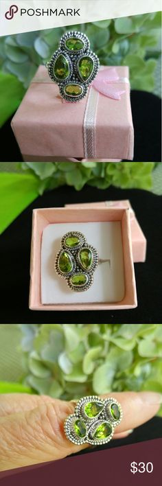 🆕NWOT🆕 Natural Green Parrot Peridot size 7 🆕NWOT🆕 Natural Green Parrot Peridot. Oval and Pear shape stones set in Genuine Solid Sterling Silver stamped 925 band. Ring size 7. Listed 8/2/2016. Jewelry Rings