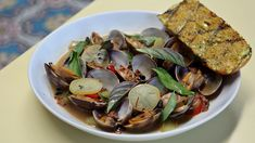 East Borough: Manilla clams with red sausage, fermented black beans, pickled lemon and turmeric butter toast. Vietnamese Recipes, Filipino Recipes, Indian Food Recipes, Asian Recipes, Cantonese Food, Los Angeles Food, Asian Soup, Steamed Buns, Food Stall