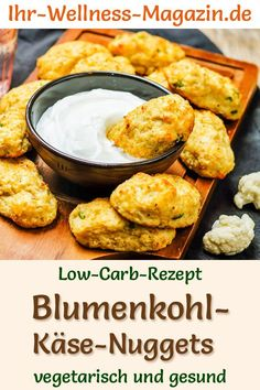 Low Carb Blumenkohl-Käse-Nuggets - gesundes, vegetarisches Hauptgericht - Rezepte vegetarisch - Low-carb recipe for cauliflower cheese nuggets – vegetarian dinner or lunch – low-carb, low-calorie, healthy and ideal for losing weight recipes Lunch Recipes, Healthy Dinner Recipes, Low Carb Recipes, Diet Recipes, Healthy Snacks, Vegetarian Recipes, Vegetarian Nuggets, Easy Recipes, Cauliflower Cheese