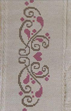 Cross Stitch Boarders, Cross Stitch Letters, Cross Stitch Heart, Cross Stitch Flowers, Cross Stitch Designs, Cross Stitching, Cross Stitch Embroidery, Hand Embroidery, Stitch Patterns