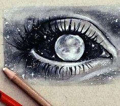 art, black and white, draw, drawing, drawings, draws, eye, galaxy, gray, moon, planets, stars, universe, First Set on Favim.com
