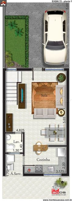 Sobrado 3 Quartos - Mais, changed the side of carpark Small House Plans, House Floor Plans, Moraira, Narrow House, Architecture Plan, House Layouts, Plan Design, My Dream Home, Home Projects