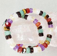 "CHAKRA Faceted Rondells 8mm 7.5"" on Elastic Multi Gemstone Beads,Bracelet Beads #luctsa"