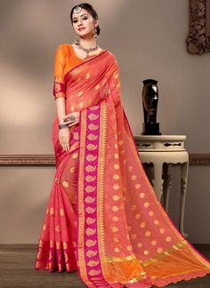 Cotton Silk Weaving Peach Trendy Saree