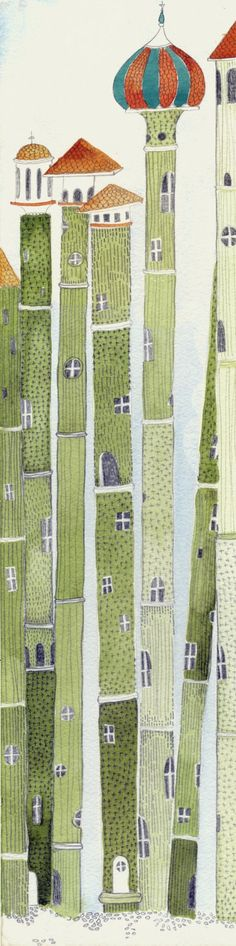 goodmemory: Bamboo houses por Kristyna Litten via Pattern Illustration, Children's Book Illustration, Graphic Design Illustration, Watercolor Illustration, Illustrations And Posters, Whimsical Art, Art Plastique, Elementary Art, Kitsch