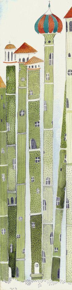 Bamboo houses por Kristyna Litten