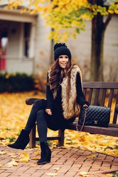 cute fall thanksgiving outfitt 2017, cute pinterest faux fur vest outfit, emily ann gemma, the sweetest thing blog, all black outfit pinterest, easy cute casual womens outfit fall pinteres thanksgiving, chanel black classic maxi bag, fashion blogger fall outfits pinterest,
