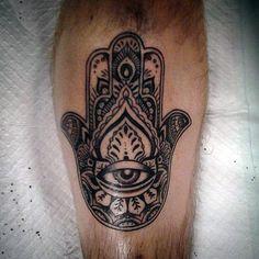 Man With Leg Hamsa Tattoo