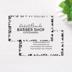 Black Border Stroke Line Barber Shop White Card  $22.15  by Jolanta_Prunskaite  - cyo diy customize personalize unique