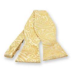 Soft Yellow Clara Paisley Self-Tie Bow Tie