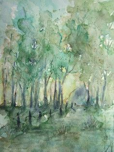Print of Original Watercolor landscape painting matted by RPeppers, $25.00