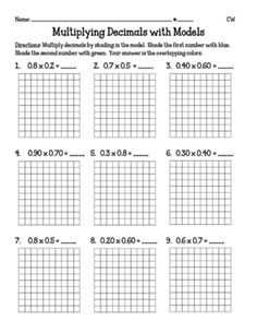 Multiplying Decimals with Models (5.NBT7) from Miss Cherritt's Shop on TeachersNotebook.com (5 pages)