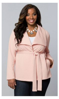 Kiyonna Quilted City Wrap Coat in Beautiful Blush