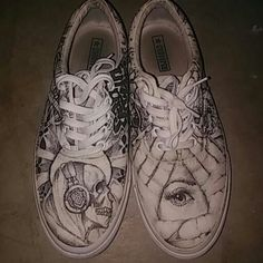 811707a473f9d1 Used (normal wear) - Hand drawn shoes artist traying to make a living  Illuminati