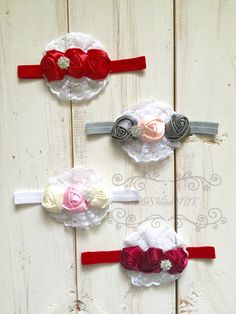 Red, Gray, ivory, pink Baby silk and lace rosette headband,vintage, lace, baby, girl, newborn by POSHinPINKKIDS on Etsy