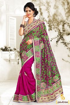 Shop stylish dark pink silk net braso saree online with discounts. The graceful design of trendy saree is attractive to shop with nice floral prints and stylish lace border to wear it on wedding and New year occasion. #sarees, #Diwalisarees, #embroiderysarees, #weddingwearsaree, #partywearsaree, #newyearsareecollection, #2016sarees, #pavitraafashion, #designersarees More : http://www.pavitraa.in/store/diwali-special-collection/ Call / WhatsApp : +91-76982-34040  E-mail: info@pavitraa.in