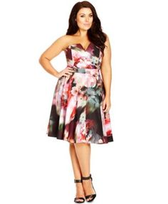 City Chic Plus Size Strapless Floral-Print Dress