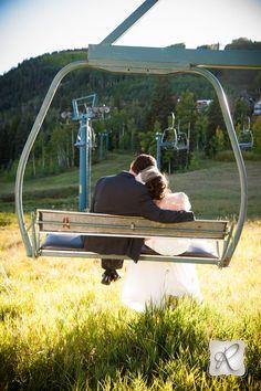 Ski Theme Wedding in Durango, CO Durango Mountain Resort, Ski Resort Wedding, Bride and Groom Ski Lift Photo, Allison Ragsdale Photography