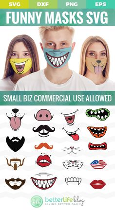 Easy Face Masks, Funny Face Mask, Diy Face Mask, Cute Faces, Funny Faces, Plotter Silhouette Cameo, Diy Mask, Fashion Face Mask, Sewing Patterns Free