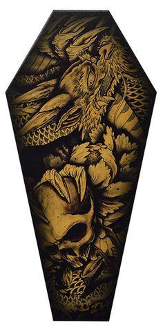 Dragon & Skull by Clark North Japanese Tattoo Coffin Canvas Art Print – moodswingsonthenet