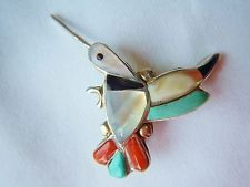 """VTG ZUNI HUMMINGBIRD Sterling Silver PIN PENDANT Turquoise Onyx Coral MOP 1 3/4"""""""