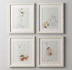 RH baby&child's Botanical Photography Bunny:Our original artwork was created just for us by photographing stylized floral arrangements atop hand-sketched portraits of wild animals, creating a visually rich blend of flora and fauna.