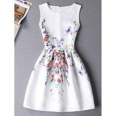 Sweet Floral Print Sleeveless Round Neck Women's Mini Dress #CLICK! #clothing, #shoes, #jewelry, #women, #men, #hats