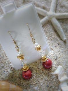 Sponge Coral Vermeil Dangle Earrings
