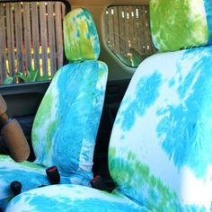 Car Seat Covers For Adult White Blue Green Tie Dye Free Gift Wrap Pair Of Front Seats