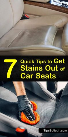 7 Quick Tips to Get Stains Out of Car Seats Let us show you how to remove stains your kids left on your car's upholstery with common household products. See how to use white vinegar and baking soda to clean and remove stains from fabric and leather seats. Clean Leather Seats, Cleaning Leather Car Seats, Clean White Leather, Car Cleaning Hacks, House Cleaning Tips, Diy Cleaning Products, Household Products, Car Hacks, Cleaning Checklist