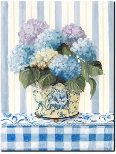 Blue Checker - Blue Checker Romantic Print ( Giclee ) by Mary Kay Crowley from Cottages and Gardens
