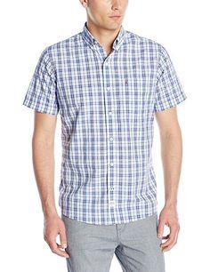 NWT Men's IZOD Saltwater Blues Textured Plaid Short Sleeve Shirt Classic Fit XL #IZOD #ButtonFront