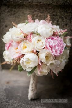 Pretty peony bouquet: http://www.stylemepretty.com/new-york-weddings/tarrytown/2015/01/15/traditional-tappan-hill-mansion-wedding/ | Photography: Brian Dorsey - http://briandorseystudios.com/