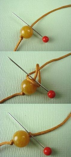 Eureka!! So that's how they get knots right up next to a bead...using a needle! So simple, but never thought of it before.