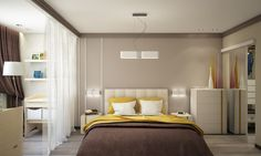 Creative design of the apartment for a young family Studio Apartment Design, Small Apartment Design, Small Bedroom Designs, Small Apartments, Interior Decorating, Interior Design, Color Interior, Ceiling Lamp Shades, Colorful Interiors