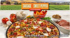Round Table Sausage and Sweet Peppers Pizza - Make at home - Italian sausage, pepperoni, mini bell peppers, tomato garlic sauce, fresh mozzarella