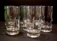 7 Mid Century Vintage Atomic Starburst Juice Tumbler Glasses 8 oz Barware Etch