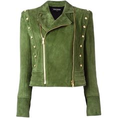 Balmain buttoned detail biker jacket (10.145 BRL) ❤ liked on Polyvore featuring outerwear, jackets, balmain, coats, coats & jackets, green, green biker jacket, zip front jacket, moto jacket and button jacket
