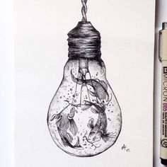 Koi - Nishikigoi, in a Light Bulb. The World of the Mind Expressed in Drawings. To see more art and information about Alfred Basha click the image.