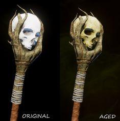 glowing skulls on staffs ile ilgili görsel sonucu Halloween Prop, Fall Halloween, Halloween Crafts, Halloween Makeup, Halloween Costumes, Voodoo Costume, Voodoo Dolls, Macabre Decor, Wizard Staff